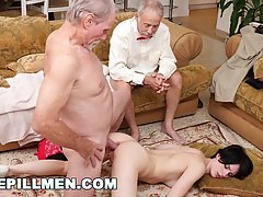 Slim brunette, Alex Harper lets an elderly man fuck her brai...