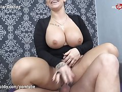 Busty blonde cock sucker is about to get fucked from the bac...