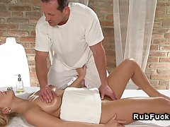 Nude blonde woman fell for her masseur and asked him to have...