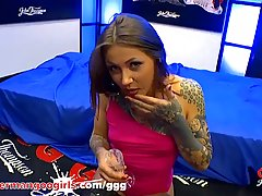 Inked lady in a pink dress, Nayomi Sharp is sucking dicks an...