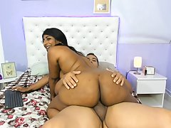 Indian brunette is getting hammered from the back on cam and...