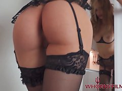 Busty mature in erotic stockings and garter belt is fucking ...