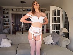 Honour May is a smoking hot woman with blue eyes who knows how to make guys cum