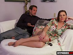Seductive housewife, Sovereign Syre was wearing a floral dre...