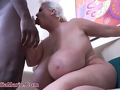 Blonde BBW with big tits has hooked up with a black guy and ...