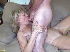 Slutty granny with saggy tits is riding a rock hard dick, li...