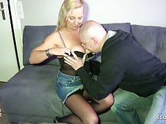 Mature, blonde woman with big tits is enjoying while fucking...