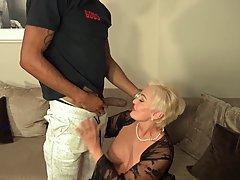 Mature blonde woman with big tits, Seka is having sensual se...