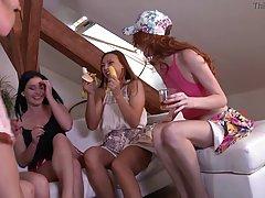 Толпа девок в общаге мутит лесбийскую вечеринку с алкоголем и оральными ласками