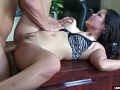 Asian secretary is often in the mood to have sex with her bo...
