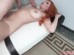 Busty redhead likes to get a massive creampie every time she...