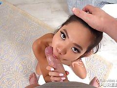 Asian teen, Vina Sky is sucking a huge dick, while kneeling ...