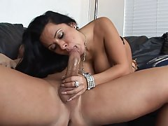 Randy brunette milf with big, firm tits is eating ass and ex...