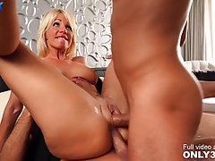 Seductive blonde lady, Tiffany Rousso got stuffed with two r...