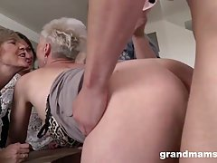 Slutty grannies are wearing sexy lingerie and stockings whil...
