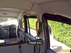 British brunette is sucking a taxi driver's dick an...
