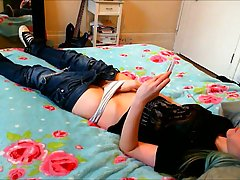 Naughty babe is watching porn and masturbating in her bedroo...