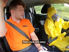 Naive brunette is getting fucked after a driving class and s...