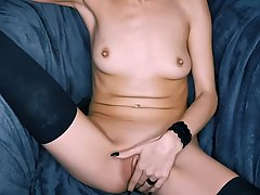 Spanish brunette, Meli Knox is learning how to masturbate wh...