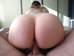 Big butt babe is bouncing up and down while fucking her room...