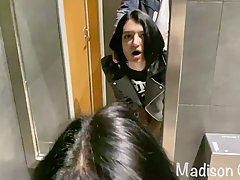 Madison Quinn is sucking dick in a public restroom and getti...