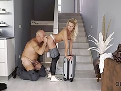 Seductive blonde babe got down and dirty with an older man f...