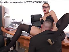 Cock loving, blonde secretary is giving blowjobs to co- work...