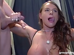 Stunning woman with big, firm tits got fucked by a group of ...