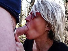 Dirty minded, blonde milf is sucking a horny stranger&#0...