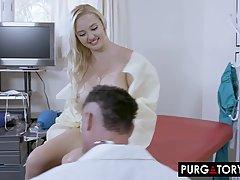 Доктор с усами прогнул на приеме молодую блондинку с большими сиськами и трахнул ее членом