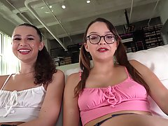 Liz Jordan and Honey Hayes are taking turns rubbing their friend's dick, to make him cum