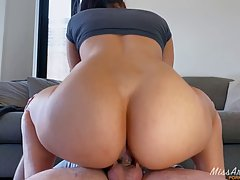 Slutty brunette knows how much guys like her tight pussy and...