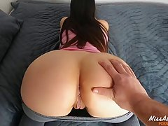 Charming brunette with a nice butt is getting fucked in fron...