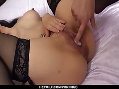 Miu Watanabe is moaning while getting fucked by two younger ...