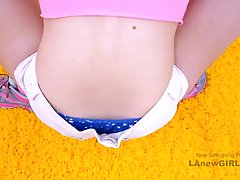 Frisky teen with blue eyes is sucking dick in a POV style, b...