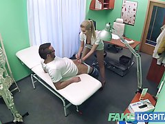 Nasty nurse is getting fucked from the back instead of doing...