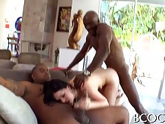Black guys are fucking a slutty brunette at the same time an...