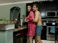 Sexy mom is wearing her favorite, satin robe and having casu...