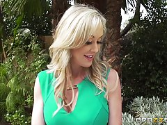 Seductive blonde housewife, Brandi Love invited two construc...