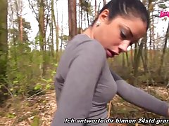 German brunette got fucked in the forest after she was done ...