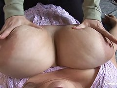 Two chubby lesbians are rubbing and licking each other's ver...