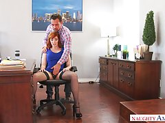 Red haired secretary needs a nice pussy fingering session, w...