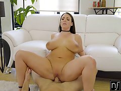 Angela White is showing her huge boobs to her lover because ...