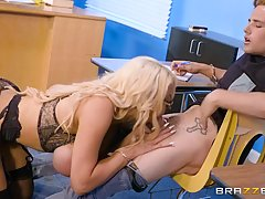 Naughty blonde teacher, Nicolette Shea loves to take her horny student's fat cock, in the classroom