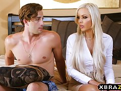 Horny blonde chick and her handsome lover are having a three...